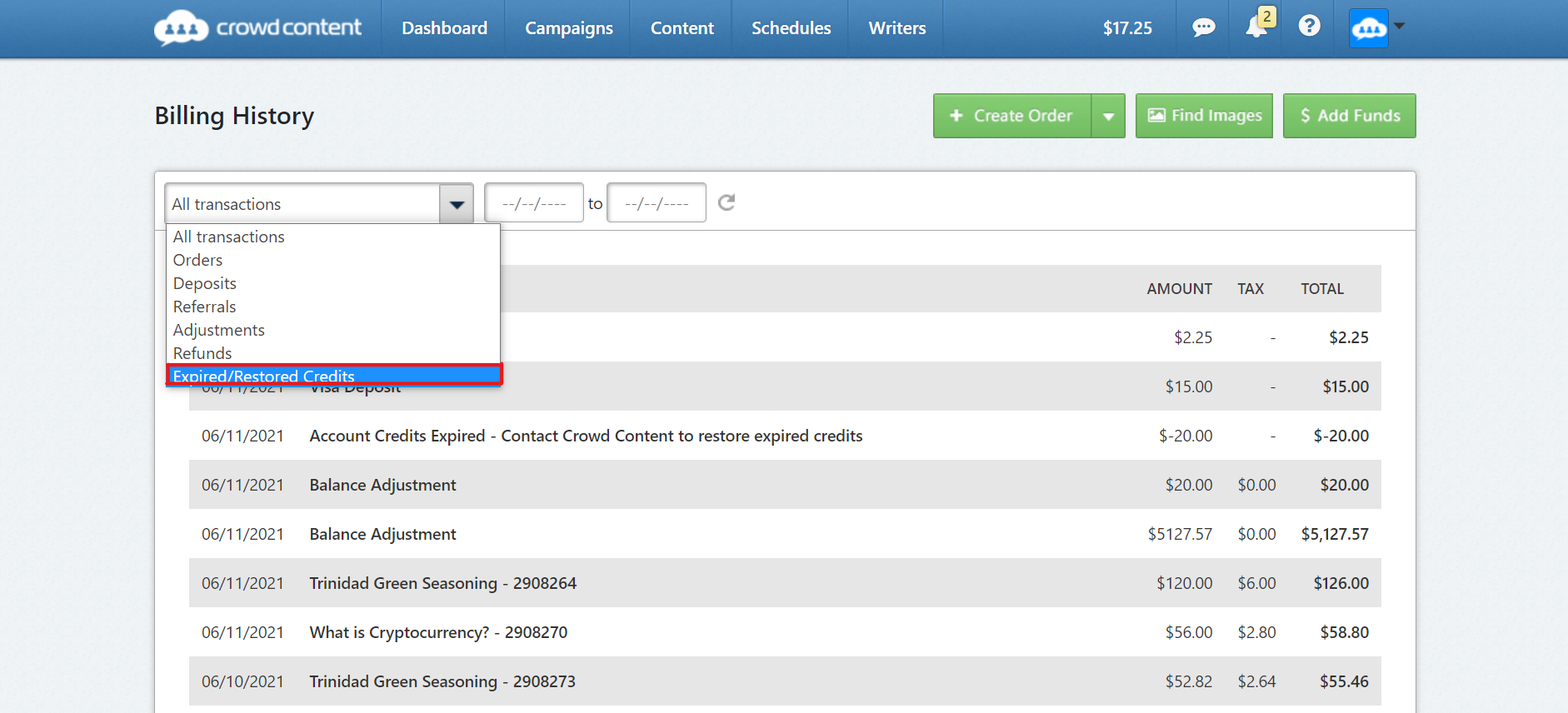 transaction history with drop down menu open. Expired/ reissued credits filter selected